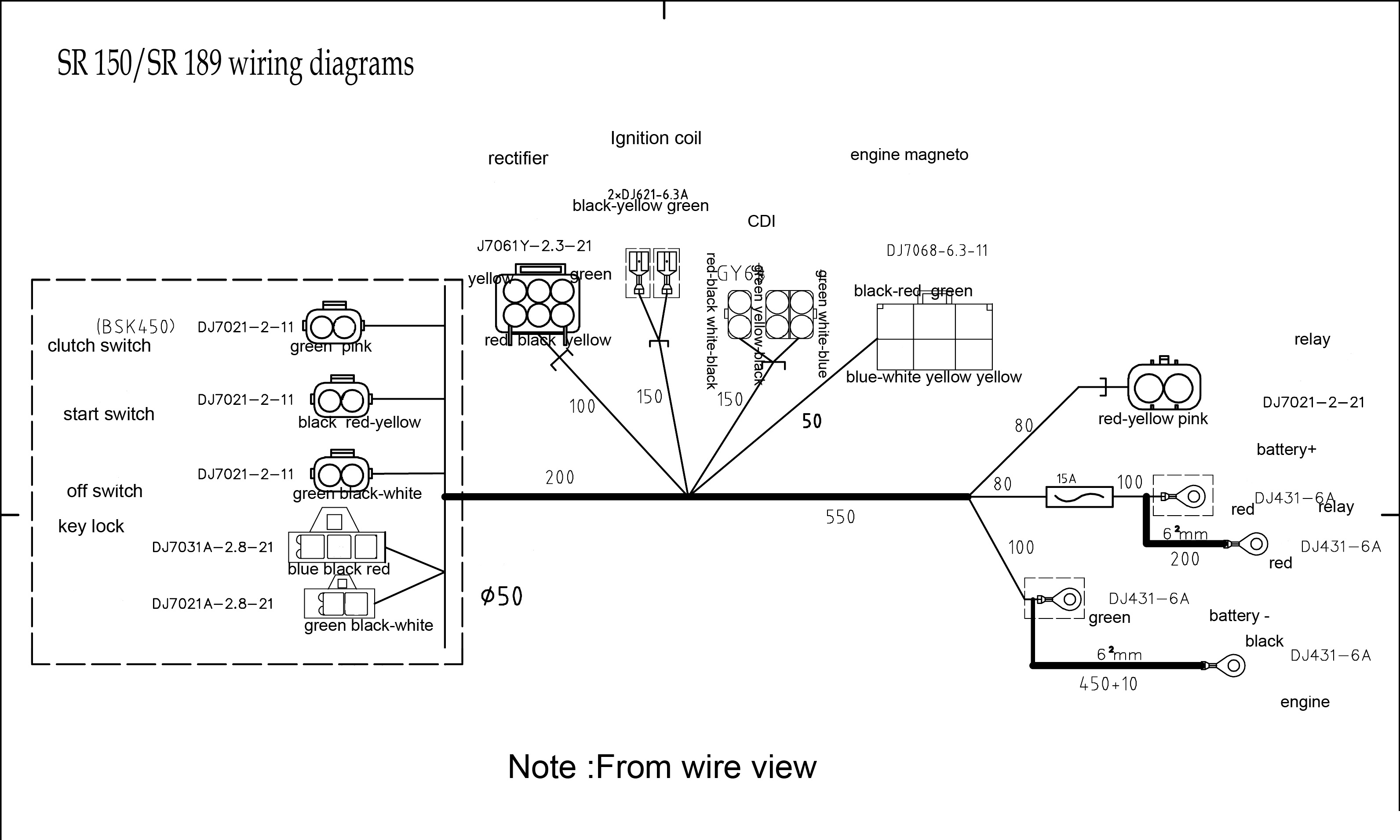 Wire Diagram Wiring Black White Sr189 Dirt Bike